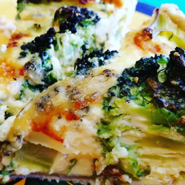 quiche, broccoli, Stilton, home made Food