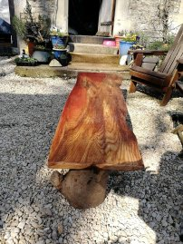 food, tables, up cycled wood, rustic, logs