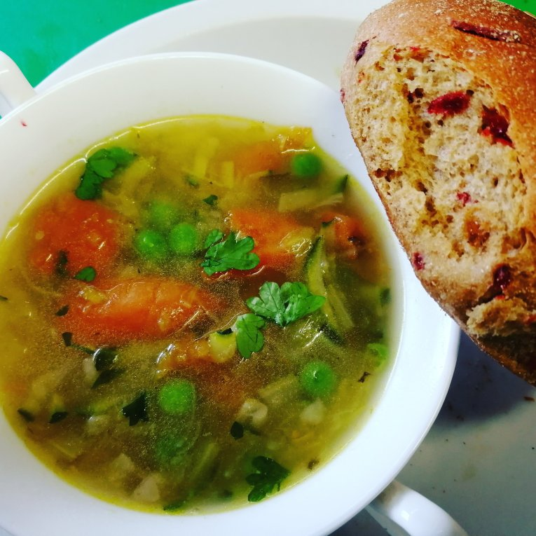 home made food, soup, spelt, rye, bread, cakes