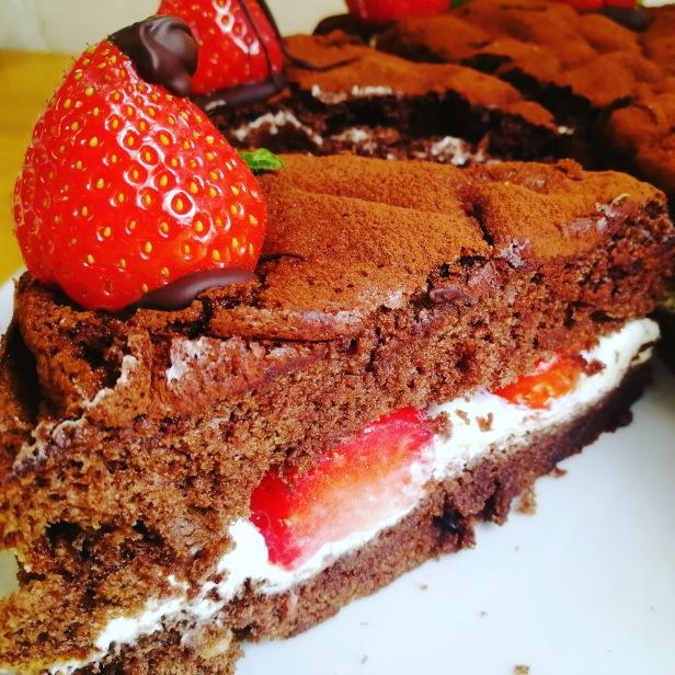 food, Chocolate, strawberries, cake, glutenfree